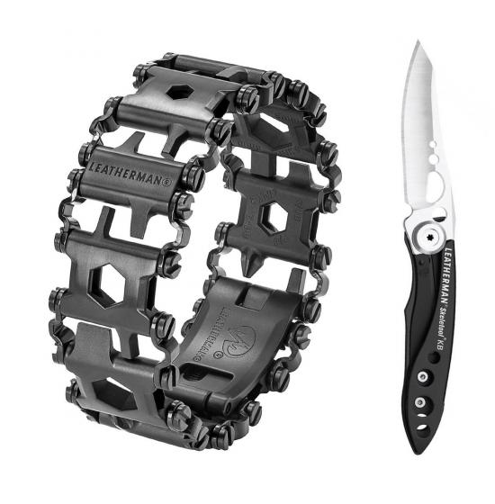 Набор браслет LEATHERMAN TREAD BLACK 832324 + нож SKELETOOL KB