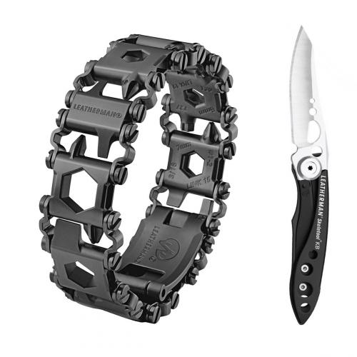 Набор браслет LEATHERMAN TREAD LT BLACK 832432 + нож SKELETOOL KB
