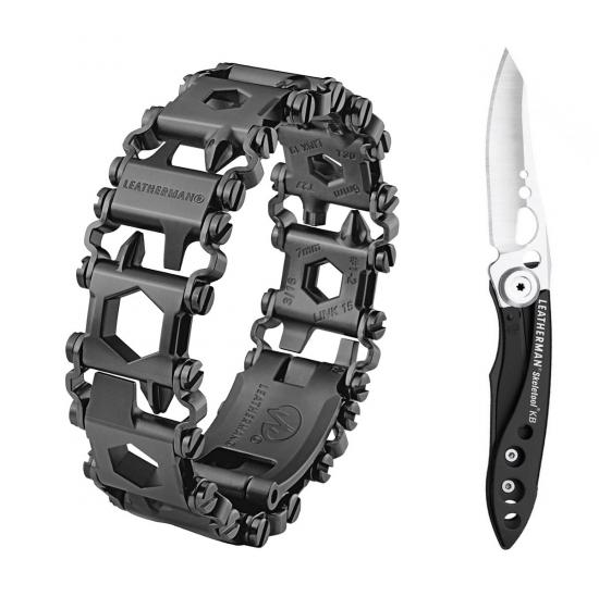 Набор браслет LEATHERMAN TREAD LT BLACK 832432 + нож SKELETOOL KB