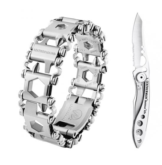 Набор браслет LEATHERMAN TREAD LT STEEL 832431 + нож SKELETOOL KBX